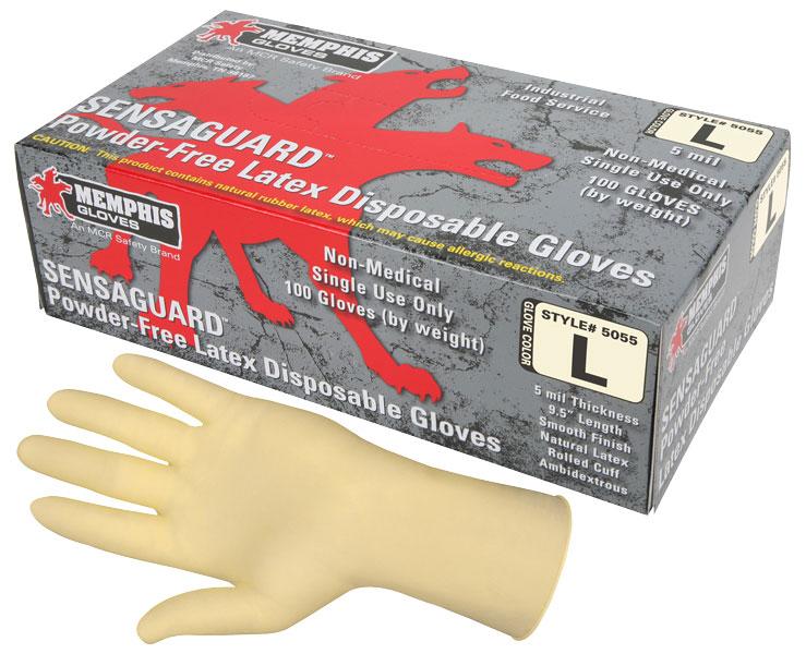 5055 - Sensaguard, 5 mil Latex, Industrial/Food Grade, Smooth Grip, Powder-Free