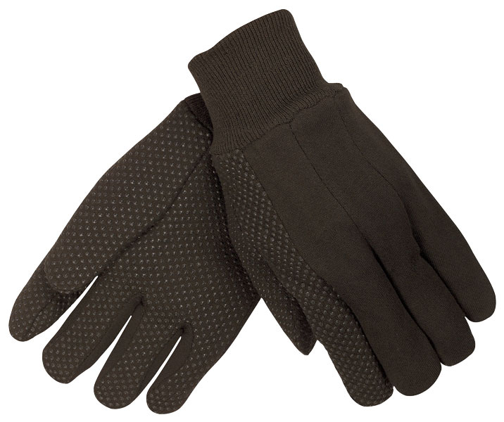 7800 - Brown Jersey Glove with Clute Pattern, Plastic Dotted Palm Side, Knit Wrist