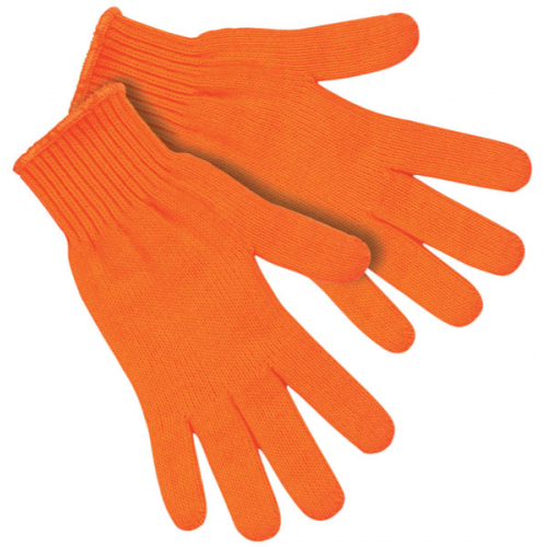 9617LM - Regular weight string knit gloves, 100% orange acrylic material