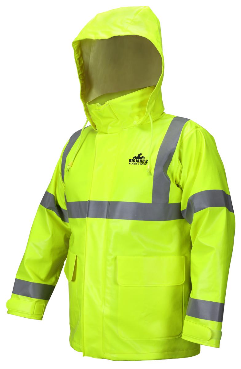 Big Jake 2 Rainwear PVC / Nomex®  Flame Resistant Jacket ANSI Class 3 High Visibility Standard HRC2 / CAT2, Arc Rating - ATPV 11 cal / cm2