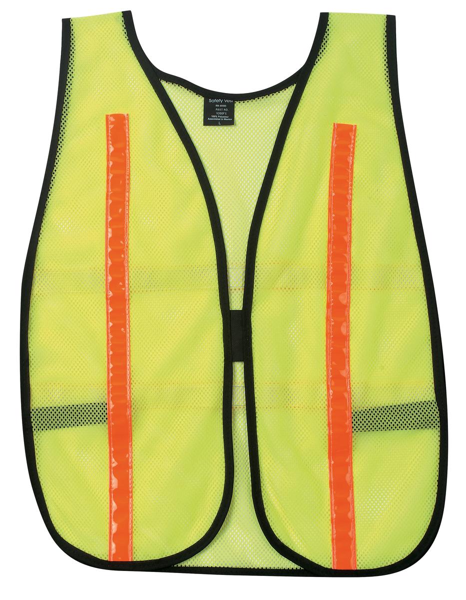 "General Purpose Safety Vest, Polyester Mesh, 1"" Red/Orange Reflective Stripes, Lime"