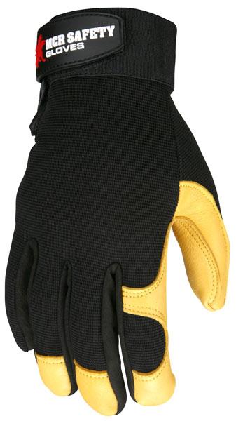 Scroll over for larger image 901 - MCR Safety Multi-Task, Grain deerskin palm, black spandex back, Hook & Loop Wrist