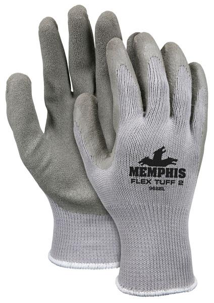 9688 - Memphis Flex Tuff® II, 10 Gauge Cotton/Polyester Shell, Latex Palm & Fingertips, Knit Wrist