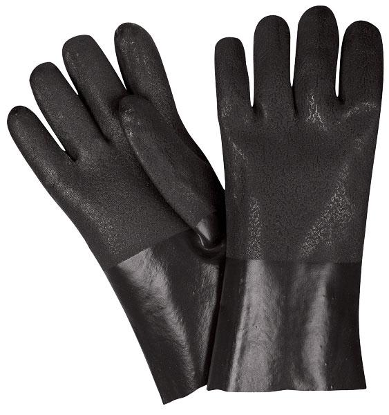 """6512SJ - Double Dip Sandy Black PVC, 12"""" Industry Standard, Jersey Lined, Guantlet Cuff"""